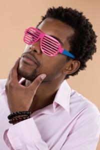 Man wearing shutter shades